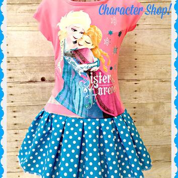 girls frozen dress Elsa Sisters Forever 4/5 6/6x 7/8 10/12 and 14/16 ready to ship