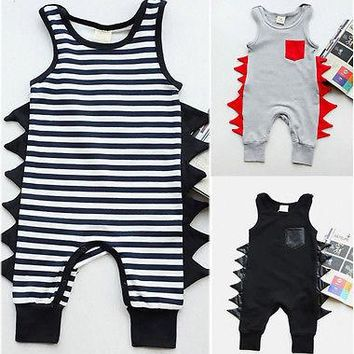 2017 Cute Newborn Baby Boy Cotton Sleeveless Romper Jumpsuit Playsuit Infant Boy Clothes 0-24M
