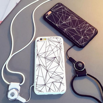 Cool Geometry Case for iPhone 5s 5se 6 6s Plus with Rope