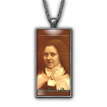 Saint Therese de Lisieux Painting Religious Pendant Necklace Jewelry