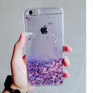 Purple Glitter Water Iphone 6 6s plus Cases