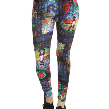 Disney Beauty And The Beast Stained Glass Leggings