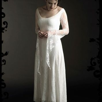Laurier Fairy Wedding Dress in Lace - Custom Elegant Gothic Clothing and Dark Romantic Couture