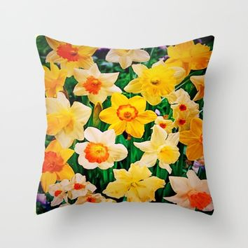 Daffys Throw Pillow by Jessica Ivy