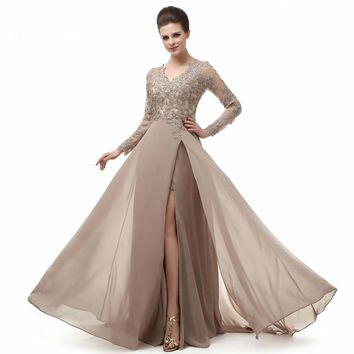 Elegant Long Sleeve A Line V Neck Chiffon Lace Beaded Long Evening Dresses