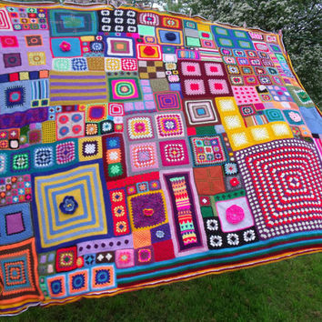 Large Patchwork Crochet Blanket