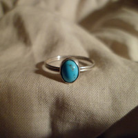 Authentic Navajo,Native American,Southwestern,sterling silver turquoise ring. Can be knuckle,pinky ring 6 1/4 size.