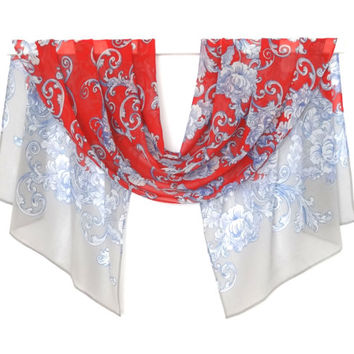scarf silk chiffon. 57 in x 18 in. women's fashion accessories, elegant red flower pattern on a light gray background.