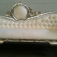 White and Silver Chaise Lounge Sofa Loveseat by VENETIANSOCIETY