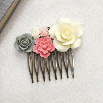 Cream Rose Comb Coral Pink Floral Country Wedding Sage Green Flower Adornment Bridesmaids Gift Floral Hair Accessories Bridal Hair Piece