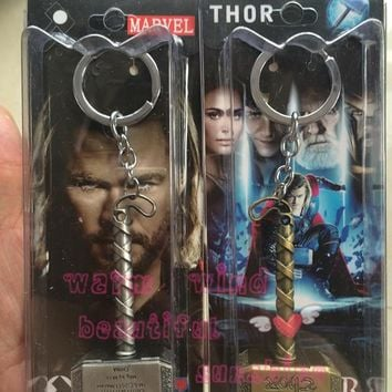 3 Color Avengers  Marvel Thor's Hammer Keychains Thor Stainless Steel Hammer Metal Pendant Keychain Thor Cosplay Hammer