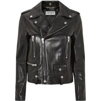 Saint Laurent Leather Biker Jacket in Black| Harrods
