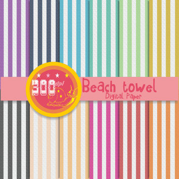 Striped digital paper, striped backgrounds 'Beach towel' in red, navy, mustard, green, and other stripes