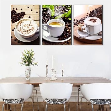 3 Pcs Israel Coffee Canvas Painting Wall Decor High Definition