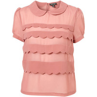 Dirty Pink Short Sleeve Scallop Tiered Blouse