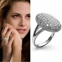 Platinum Crystal Filled Ring Wedding Engagement Women Jewelry Love Romance Twilight
