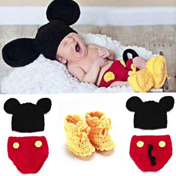 Newborn Photography Props with Baby Shoes Mouse Baby Crochet Knit Costume Photo Photog
