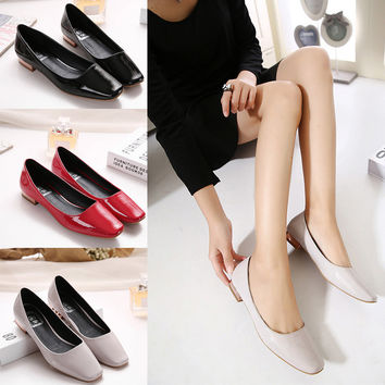 Summer Korean Casual Square Toe Flat Shoes [4920407748]