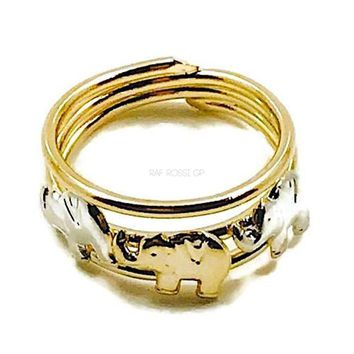 Elephants 18kts Gold Plated Ring