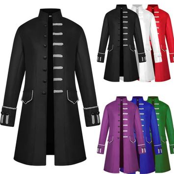 Medieval Costume Steam Punk Retro Men Cosplay Stand Collar Long Coat