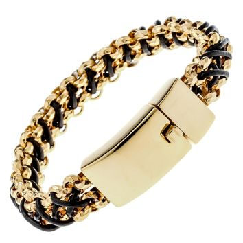 Mens stainless steel black leather link chain bracelet gold silver color jewelry birthday gifts for dad him boyfriend D004
