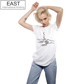 Women's Cotton T Shirt Cigarette with Japanese Writing