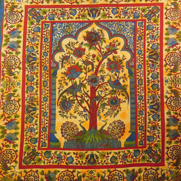 Indian Floral Tree Of Life Hippie Hippy Wall Hanging Tapestry Throw Bedspread Bed Sofa Decor Sheet Ethnic Decorative Art