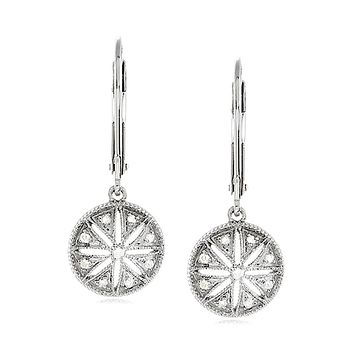 Vintage Style Diamond Circle Earrings in Sterling Silver