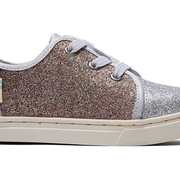 TOMS - Tiny Silver Gold Iridescent Glimmer Lenny Elastic Sneakers