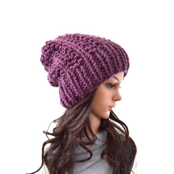 Chunky Knit Slouchy Hat Beanie Toque // The Aurora // in Fig