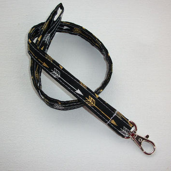 Lanyard  ID Badge Holder -  Lobster clasp and key ring New Thinner  Design - Metallic Gold - white arrows coworker gift teacher