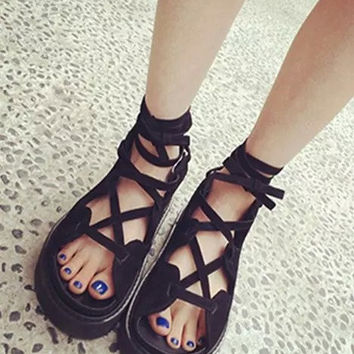 TIE UP SHOESLACES PLATFORM SANDALS SUEDE