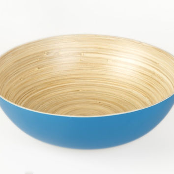Coiled bamboo round salad bowls, blue
