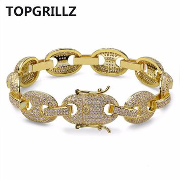 TOPGRILLZ Hip Hop Men Jewelry Bracelet Copper Iced Out Gold/Silver Color Plated Micro Pave CZ Stone Chain Bracelet 7Inch 8Inch