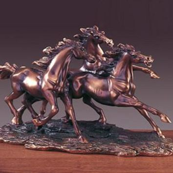 Three Horses Bronze Figurine - 14""