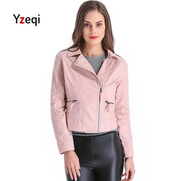 Yzeqi Leather Jacket Women Autumn Women Faux Soft Leather Jacket Plus Size 4xl Pink Biker Coat Design Motorcycle Coat Outwear