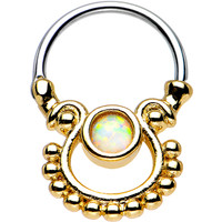 White Opal Gold IP Egyptian Goddess Dangle Septum Clicker | Body Candy Body Jewelry
