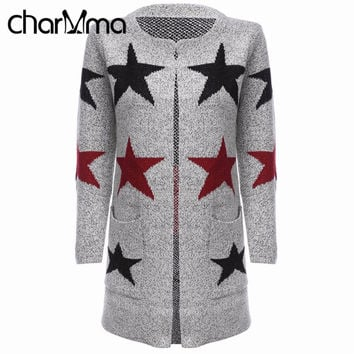 CharMma Cashmere Cardigans Women Long Sleeve Long Coat Star Printed Female Spring Cardigan Knitted Sweater Ladies Open Stitch