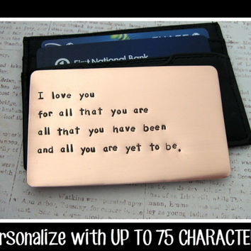 Copper Wallet Insert Card - Anniversary Gift for Men - Personalized Hand Stamped Metal - UP TO 75 Characters - Husband Boyfriend 7 Year