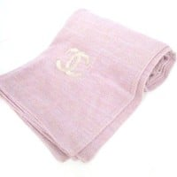 Auth CHANEL Pink Cashmere Silk Blend Scarf