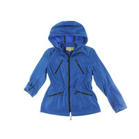 MICHAEL Michael Kors Womens Petites Hooded Contrast Trim Anorak Jacket