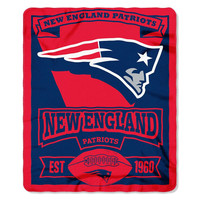New England Patriots NFL Light Weight Fleece Blanket (Marque Series) (50inx60in)
