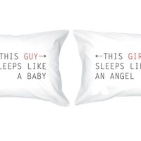 Baby Angel Cute Matching Couple Pillowcases (Set of 2)