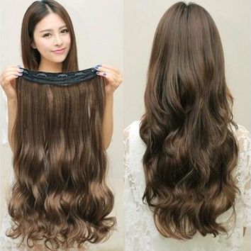 Women Long Curly Clip  in Hair Extensions, One Piece 24 inches 60CM Wave Curly Hairpiece, Heat Style Silk Matte High Simulation Wig in 4 Colors [8833988108]