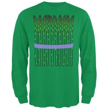 PEAPGQ9 Halloween Vegetable Asparagus Costume Mens Long Sleeve T Shirt