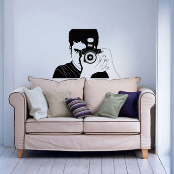 Photographer with Camera Housewares Wall Vinyl Decal Sticker Art Design Mural Modern Interior Decor Stylish Photo Photography Studio SV4496