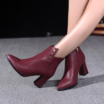 studded ankle boots high heels shoes woman  number 1
