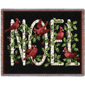 Noel Christmas Afghan Throw Blanket
