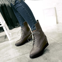 Lace Up Studded Platform Wedge Boots 2417