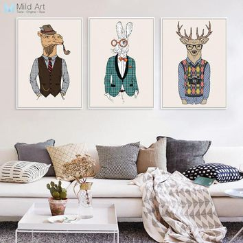Vintage Fashion Hipster Wild Animals Giraffe Deer Zebra Horse Posters Prints Wall Art Pictures Retro Home Decor Canvas Paintings